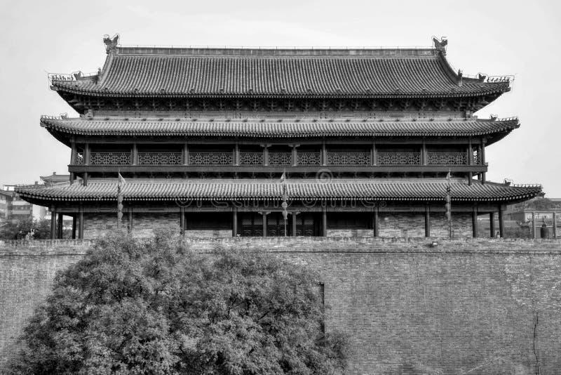 De stadsmuur in metropool Xi ` binnen China royalty-vrije stock foto's