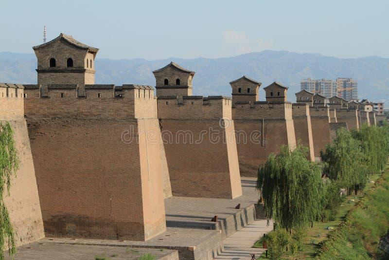 De Stadsmuur van Pingyao stock foto