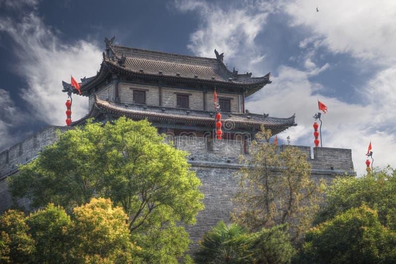 De stadsmuur van Xian stock afbeeldingen