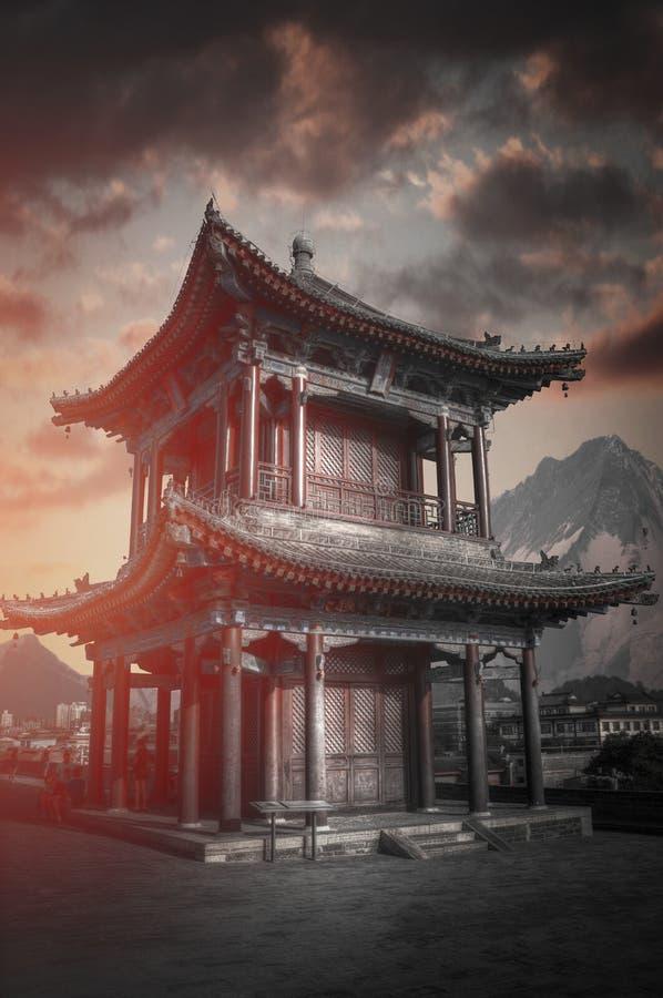 De stadsmuur van Xian stock foto