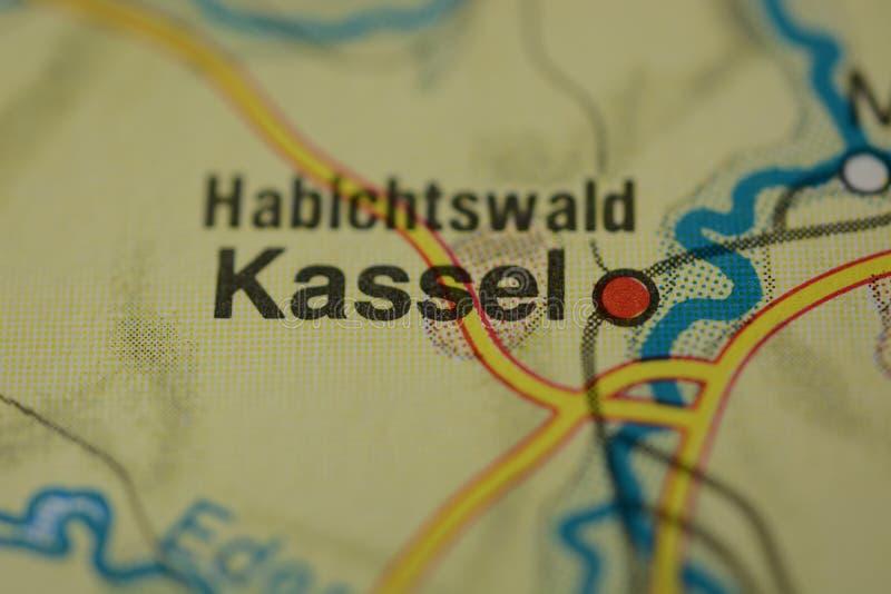 De stadsnaam KASSEL op de kaart royalty-vrije stock afbeeldingen