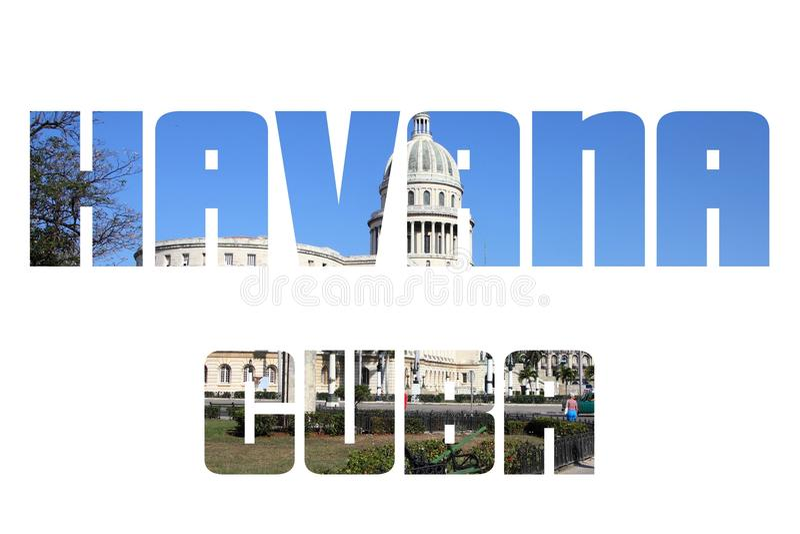 De stadsnaam van Havana stock afbeelding