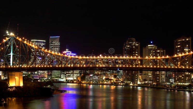 De stadsnacht van Brisbane scape stock foto's