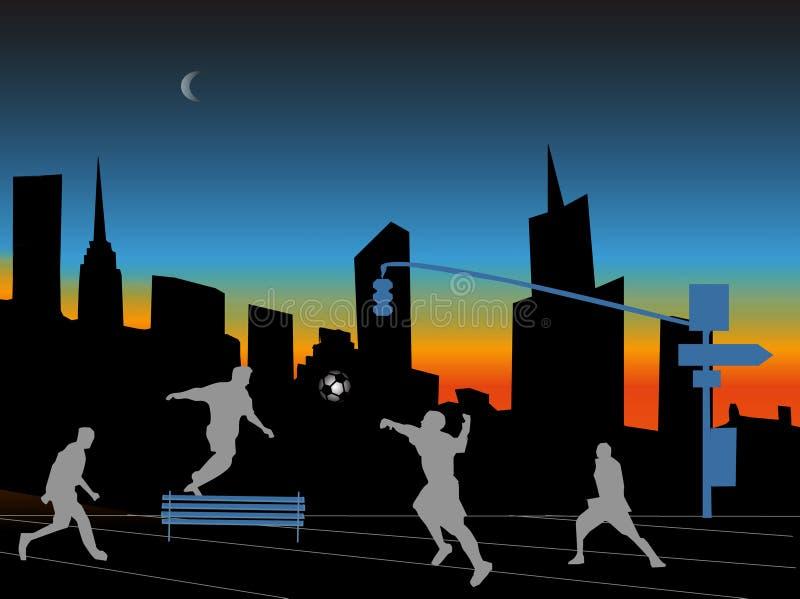 De stadsnacht van Fotball royalty-vrije illustratie