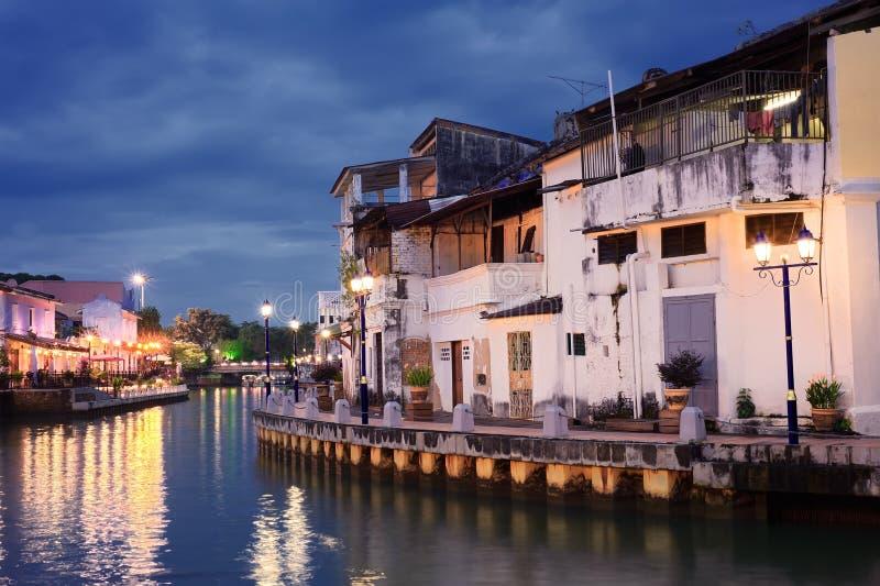 De stadsnacht van Malacca royalty-vrije stock afbeeldingen