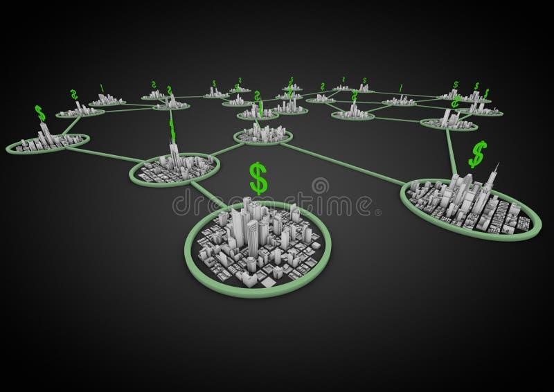 De stadsnetwerk van financiën royalty-vrije illustratie