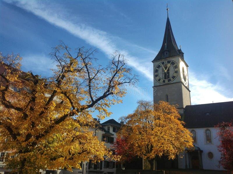 De Stadsoriëntatiepunt van Zürich - St Peterroyalty-vrije stock foto's