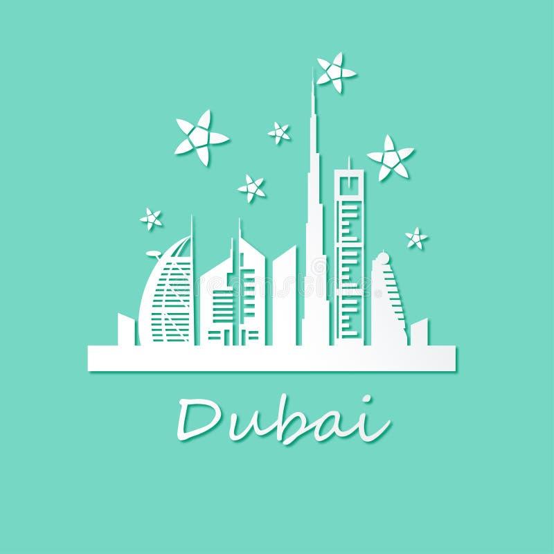 De stadsoriëntatiepunten en sterren van Doubai vector illustratie