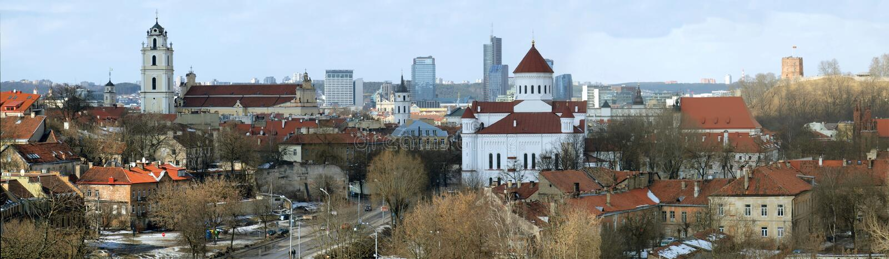 De stadspanorama van Vilnius stock foto's