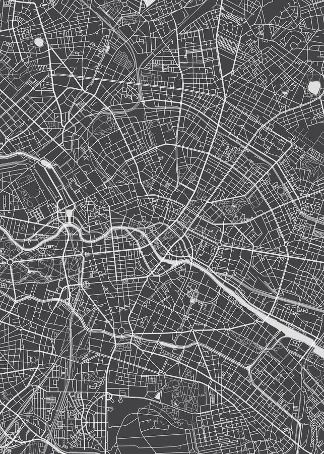 De stadsplan van Berlijn, gedetailleerde vectorkaart vector illustratie