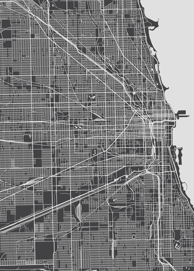 De stadsplan van Chicago, gedetailleerde vectorkaart royalty-vrije illustratie