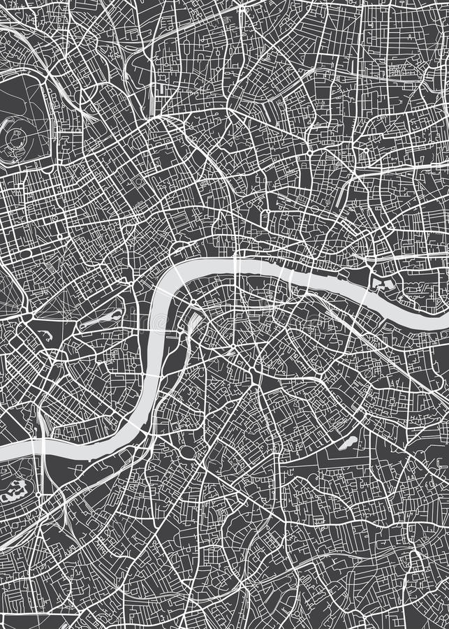 De stadsplan van Londen, gedetailleerde vectorkaart stock illustratie