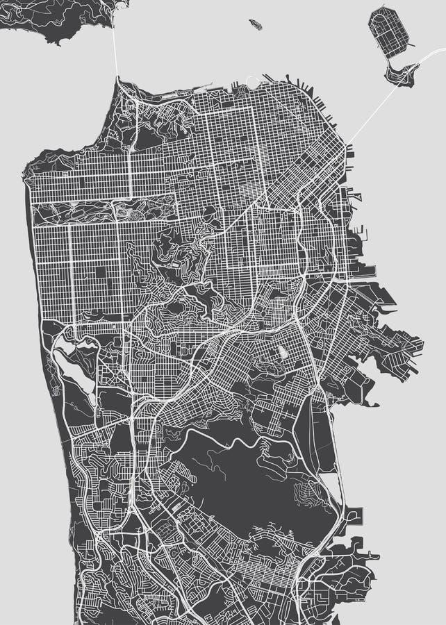 De stadsplan van San Francisco, gedetailleerde vectorkaart royalty-vrije illustratie