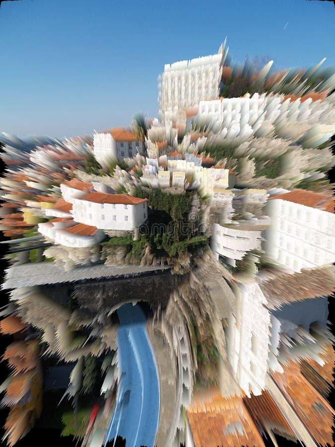 De stadsribeira van Porto digitaal art. stock afbeeldingen