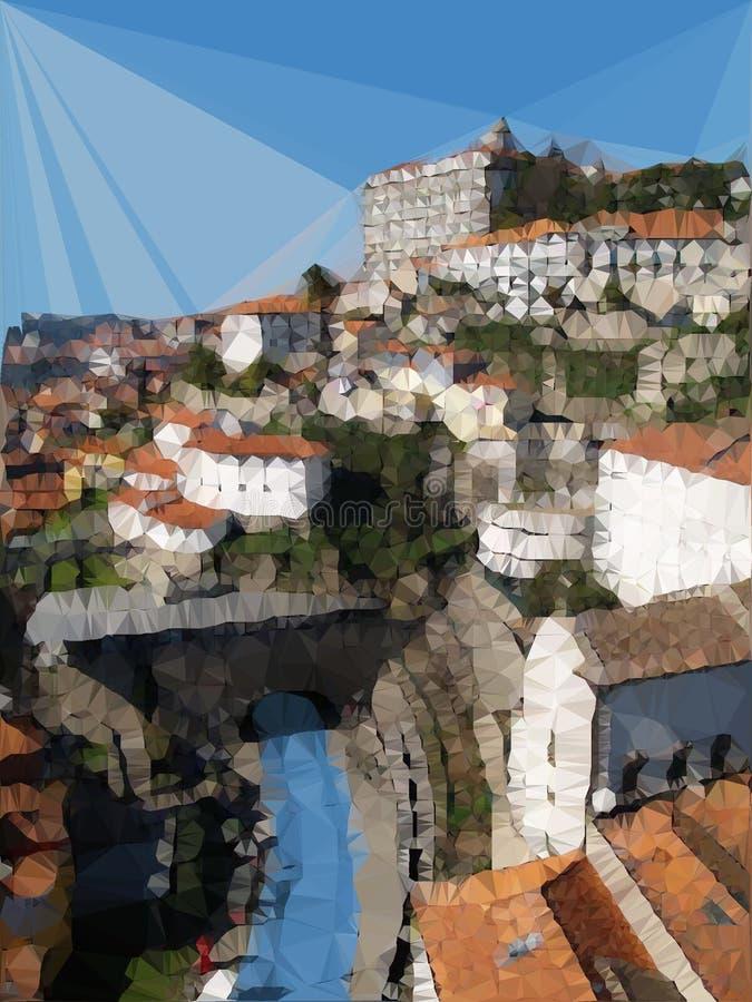 De stadsribeira van Porto digitaal art. stock illustratie