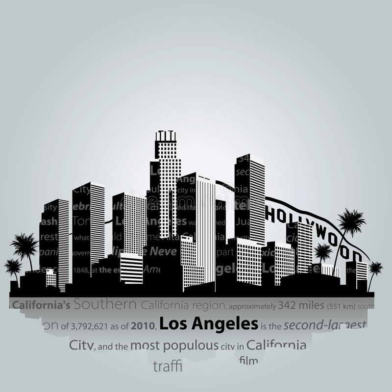 De stadssilhouet van Los Angeles vector illustratie