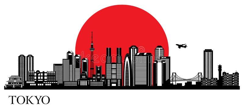 De stadssilhouet van Tokyo stock illustratie