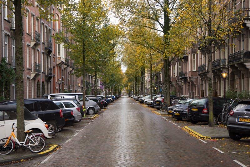 De stadsstraat van Amsterdam stock foto's
