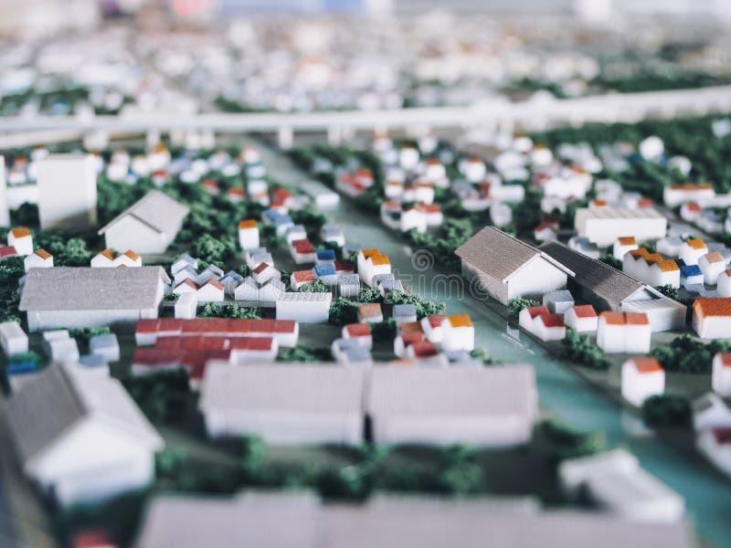 De stadsstraat van de architectuur het Modelstad effect van het de verschuivingsonduidelijke beeld van de Planningsschuine stand stock foto's