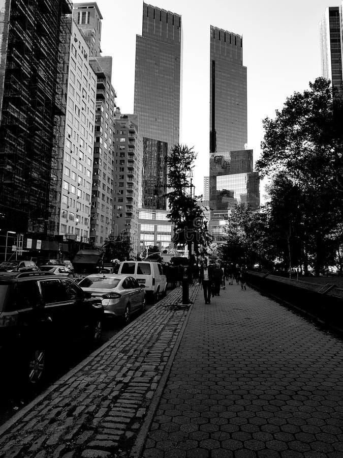 De Stadsstraat van New York in Zwart-wit stock foto
