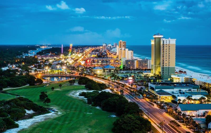 De Stadsstrand van Panama, Florida, bij nacht stock foto