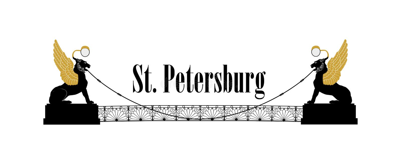 De stadssymbool van St. Petersburg, Rusland De gevleugelde leeuwen overbruggen Russisch Oriëntatiepuntpictogram vector illustratie