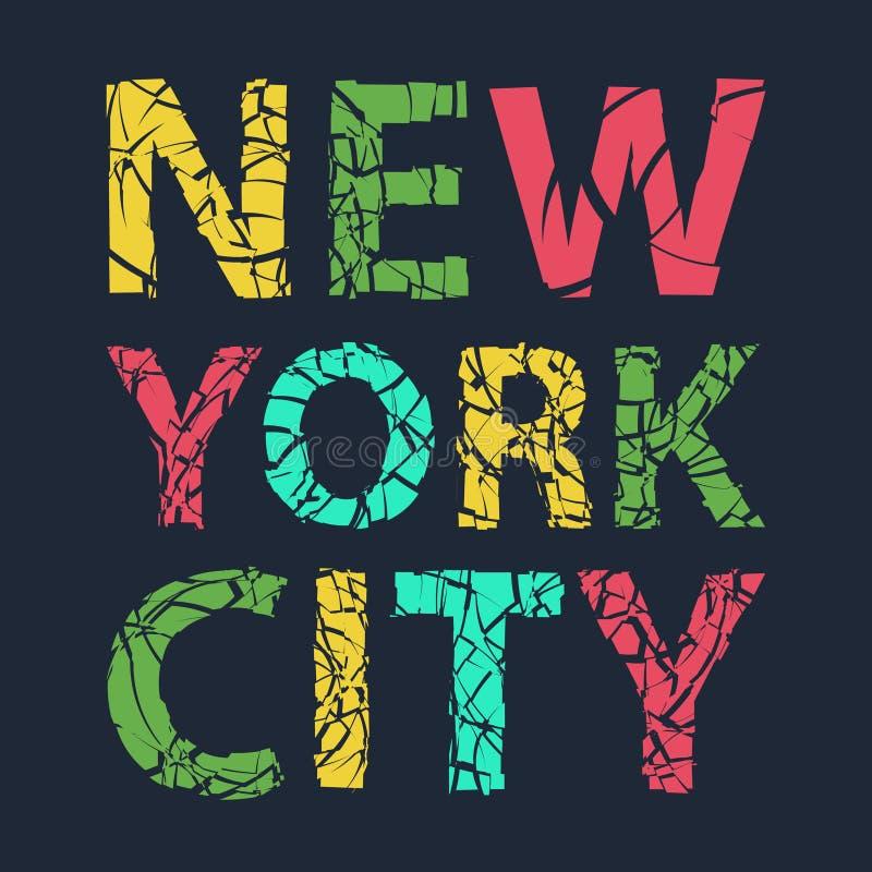 De stadstypografie van New York, t-shirtgrafiek, vector royalty-vrije illustratie