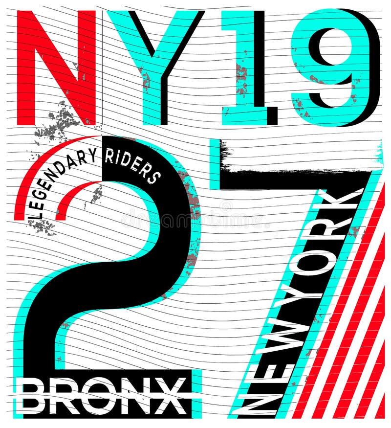De stadstypografie van New York, t-shirtgrafiek, vectoren royalty-vrije illustratie
