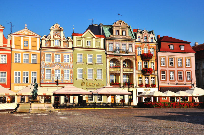De stadsvierkant van Poznan, Polen stock afbeelding
