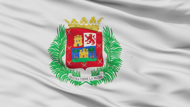 De Stadsvlag van Las Palmasgran canaria, Spanje, Close-upmening vector illustratie
