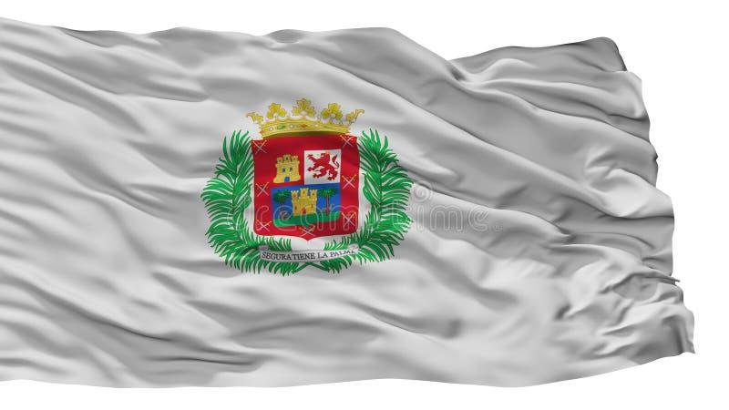 De Stadsvlag van Las Palmasgran canaria, Spanje, op Witte Achtergrond wordt geïsoleerd die vector illustratie