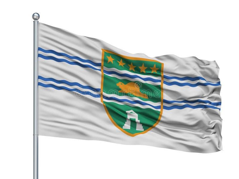 De Stadsvlag van Surrey op Vlaggestok, de Britse die Colombia Provincie van Canada, op Witte Achtergrond wordt geïsoleerd vector illustratie