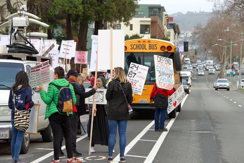 De staking van het leraarsprotest, Oakland, CA stock fotografie