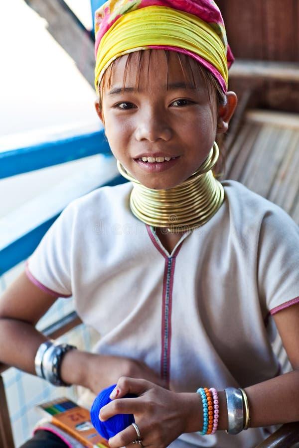 De stammeisje van Padaung stock foto's