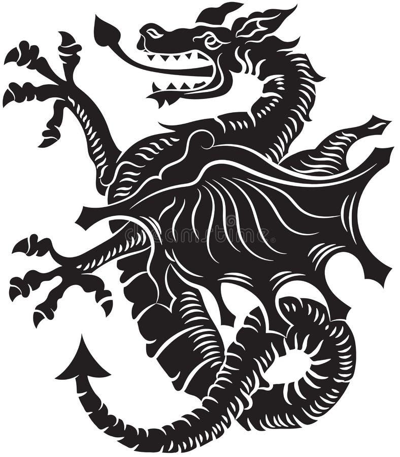 De stammen VectorIllustratie van de Draak van de Tatoegering royalty-vrije illustratie