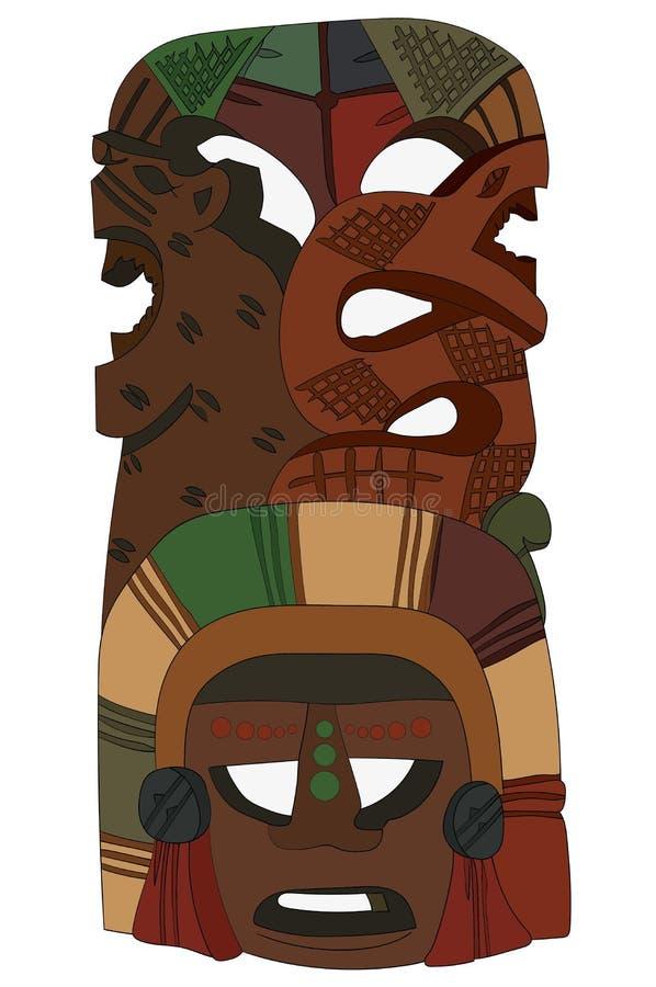 De stammenrat van Masker Inheemse Amerikaanse Azteekse Inca Mayan Vector Image Snake stock foto