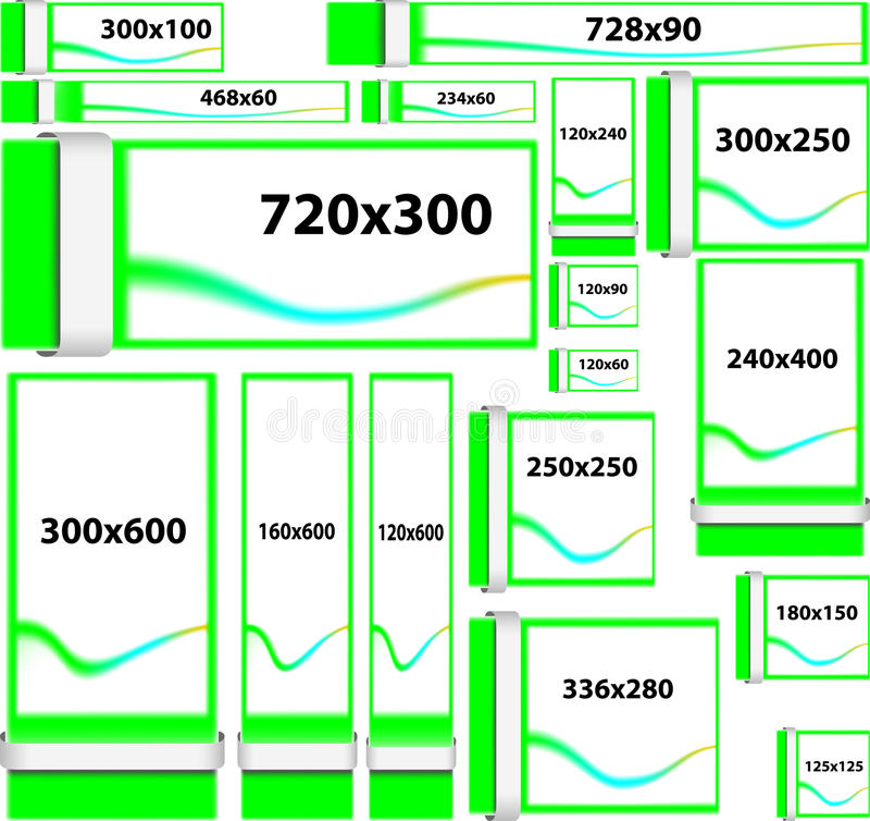 De standaardbanners van de groottewebsite stock illustratie