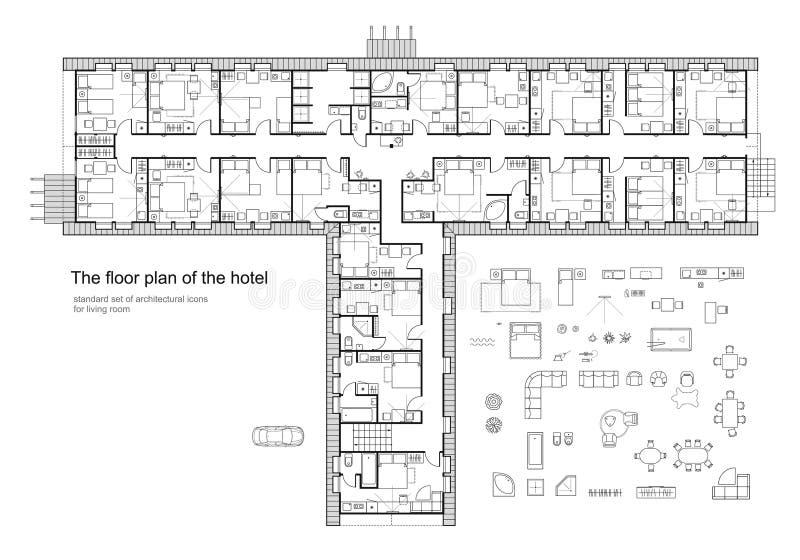 De standaardsymbolen van het hotelmeubilair plaatsen in architectuurplannen gebruikt stock illustratie