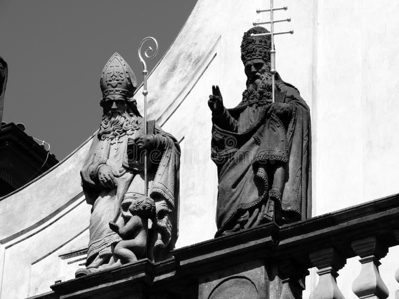 De standbeelden in Praag royalty-vrije stock afbeelding