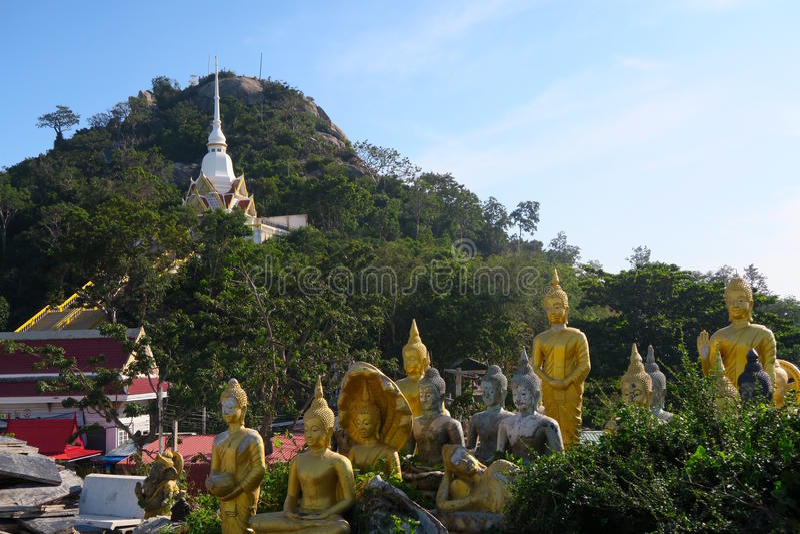 De standbeelden van Boedha bij de tempel, aapberg royalty-vrije stock foto's