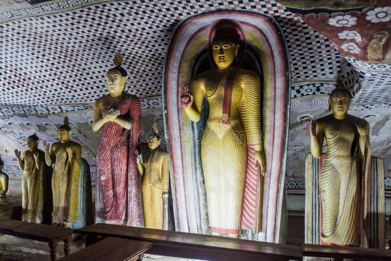 De standbeelden van Boedha in een hol van Dambulla-holtempel, Sri-Lan stock foto's