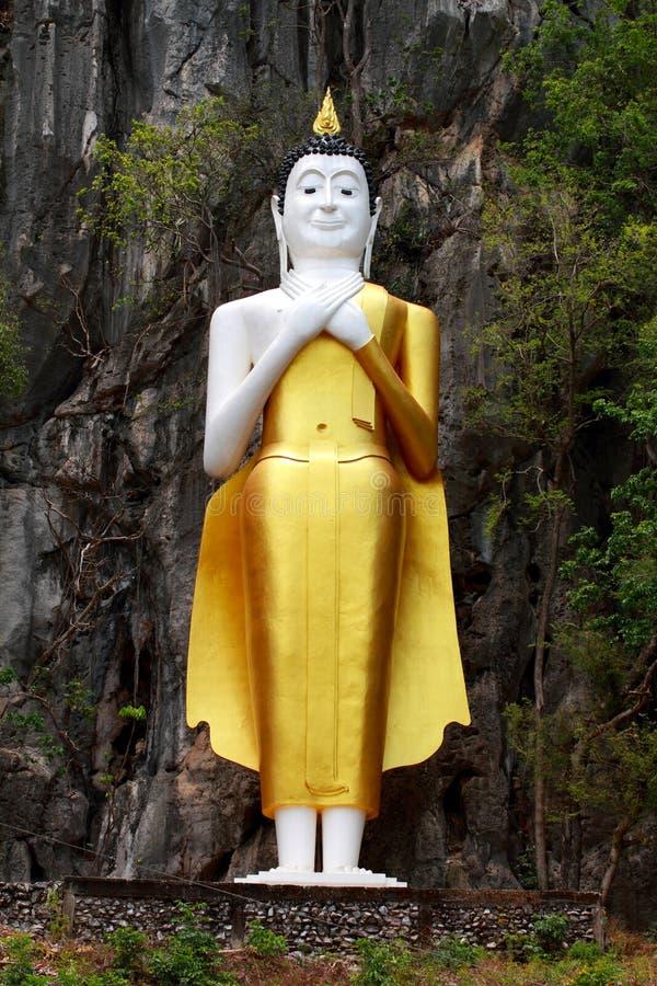 De standbeelden van Boedha worden gevestigd op een klip royalty-vrije stock foto