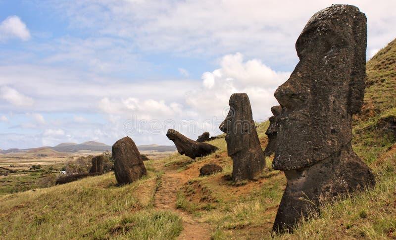 De Standbeelden van het Eiland van Pasen stock fotografie