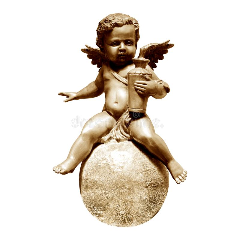 De standbeelden van het engelenbrons op wit worden geïsoleerd dat stock fotografie