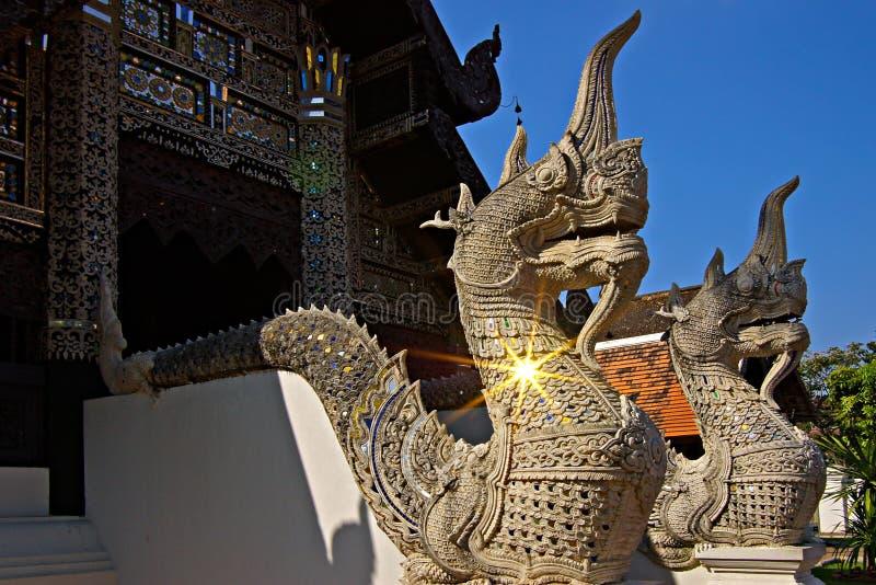 De standbeelden van Naga beschermen de ingang aan Thaise tempels royalty-vrije stock foto's