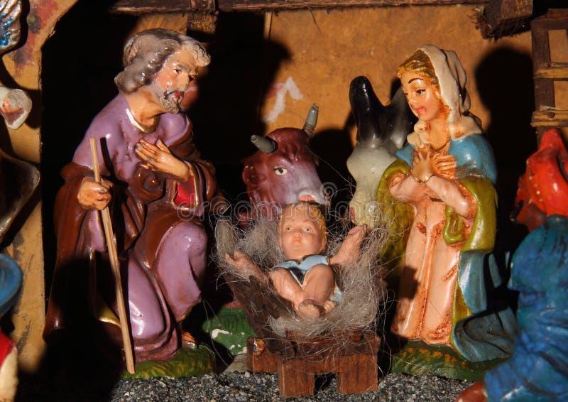 De standbeelden van de traditionele Italiaanse geboorte van Christusscène royalty-vrije stock afbeelding