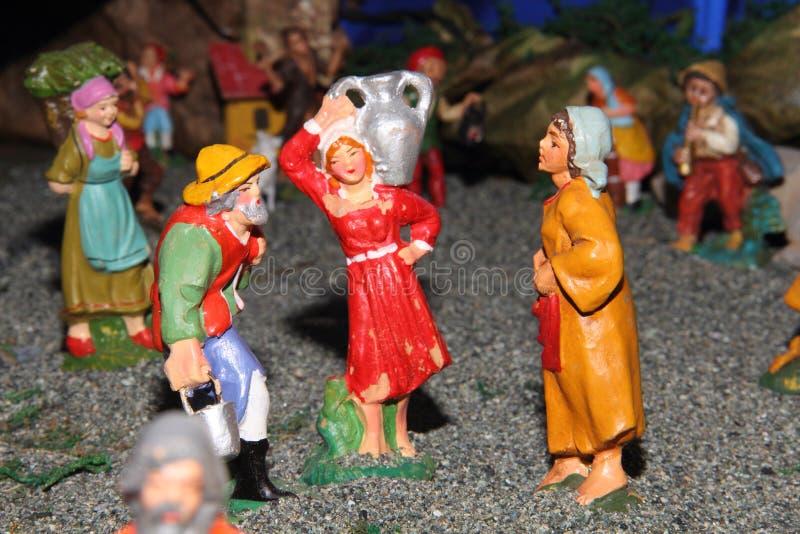 De standbeelden van de traditionele Italiaanse geboorte van Christusscène royalty-vrije stock foto