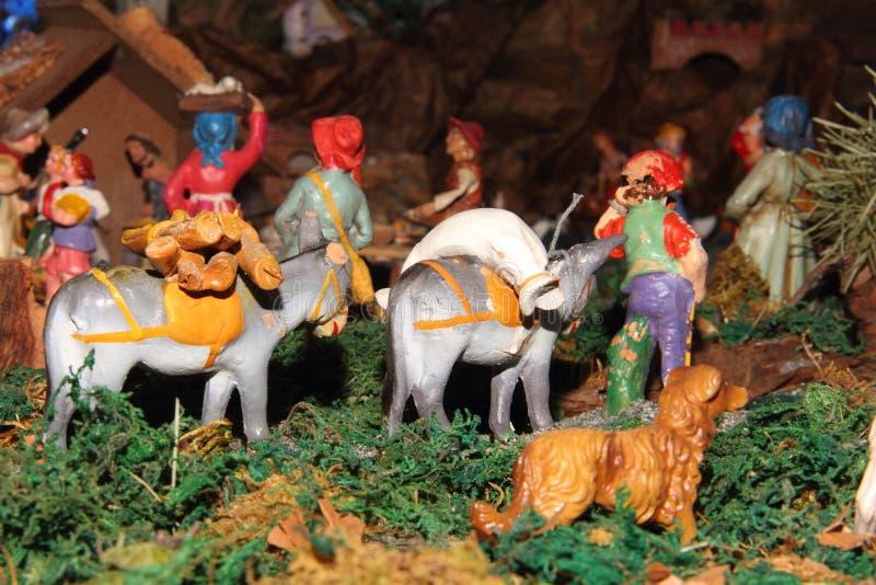 De standbeelden van de traditionele Italiaanse geboorte van Christusscène royalty-vrije stock afbeeldingen