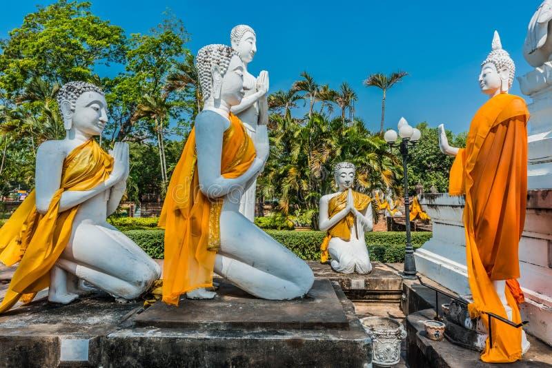 De standbeelden Wat Yai Chaimongkol Ayutthaya Bangkok Thailand van Boedha stock foto's