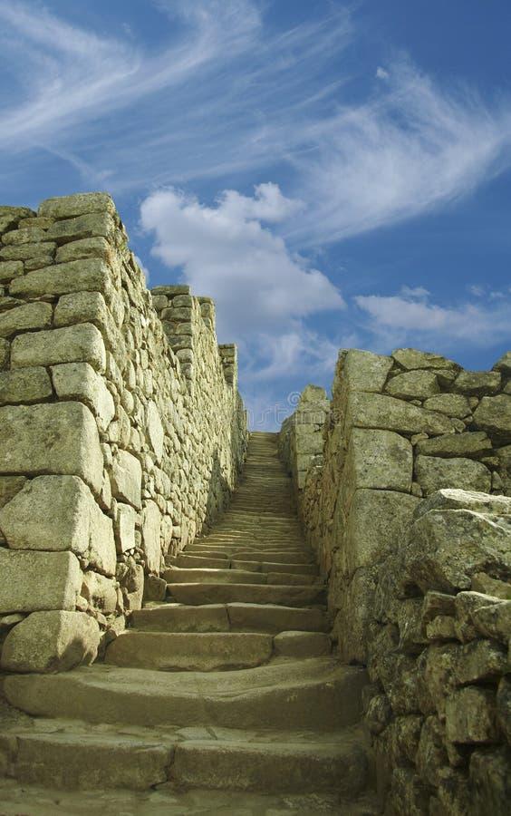 De stap en het blauw van de steen stock afbeelding